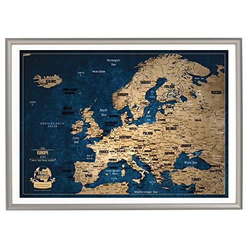 Personalisierte Europakarte mit Pinnwand, Kreative Design, Reise Karte 53 x 73cm, Europakarte mit Rahmen, Europakarte mit Pins zum Markieren von Reisen, Hergestellt in Europa - Reise-karte Europa Von