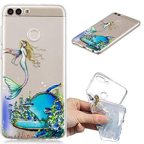 Nadoli Transparent Hülle für Huawei Honor 7X,Meerjungfrau Fisch Malerei Muster Crystal Kirstall Ultra Dünn Durchsichtige Schutzhülle Bumper für Huawei Honor 7X,Meerjungfrau Fisch