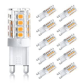 Ascher 3W G9 LED Bulbs, 25W Halogen Bulbs Equivalent, 250lm, Warm White, 360 Degree Beam Angle, G9 Bulb - Pack of 10