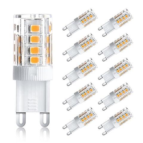 Ascher 10er-Pack G9 3W LED Lampe [vgl. 25W Halogen, 250LM, Warmweiß , AC 220-240V, 360º Abstrahlwinkel] G9 LED Birnen, LED