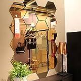 Auntwhale 12 STÜCKE Hexagonal 3D Acryl Spiegel Wandaufkleber Steuern Dekor Wohnzimmer DIY Moderne Kunst Spiegel Wandbild Dekoration (Golden)