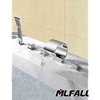 Dahuuyus moderno stile elegante e pratico da cucina e da bagno Mlfalls Contemporary Deck Mount tripla maniglie bagno cascata beccuccio rubinetto con doccetta