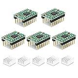 ReliaBot 5PCs A4988 Driver del Motore Passo Modulo con Dissipatore di Calore per Stampante 3D, CNC Macchine, Robot o Arduino