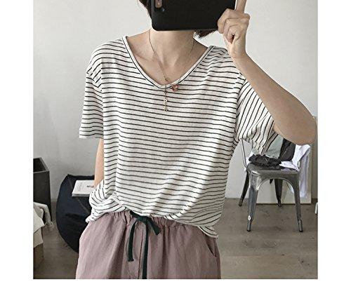 Xmy Dünn gestrickt t-Shirt Damen Sommer Stripe v-Ausschnitt Lose Video Skinny frische Bonbonfarbenen Kurzarm T-Shirt ist EIN Zahlensystem, Weiß