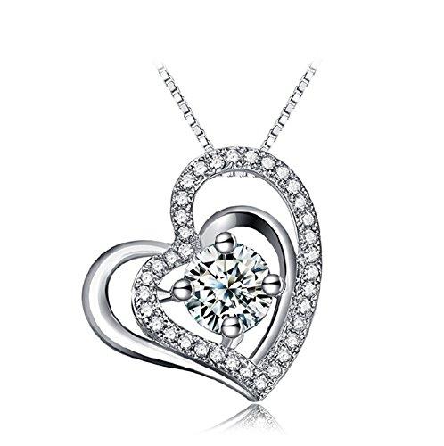 Adisaer Ladies 'Plata plateada collar corazón colgante