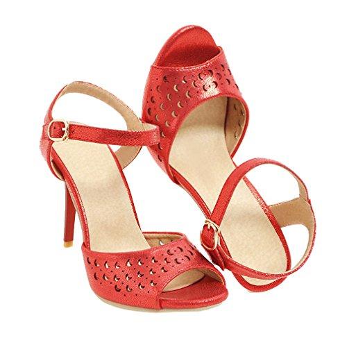 YE Damen Ankle Strap Peep Toe Stiletto High Heel Sandalen mit 9.5cm Absatz Party Schuhe Rot