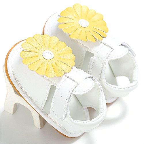 Confortevole Scarpine Neonata per Bimba Morbido e Non Scivoloso Sandali con Bella Fiore per le Nonate di 0-18 Mesi (Bianco, L) Bianco