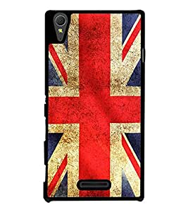 Fuson Premium 2D Back Case Cover flag design With Brown Background Degined For Sony Xperia T3