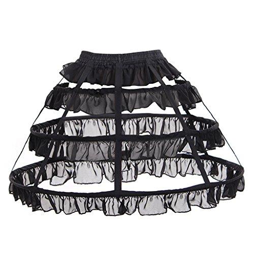 Cosplayitem Damen Mädchen Lolita Petticoat Unterrock Underskirt 3 Reifen (46cm, Schwarz)