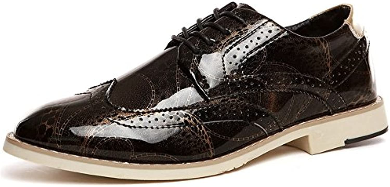 Jiuyue shoes  Sommer 2018 Herren Oxfords Flache Ferse Lace up Spitzschuh PU Leder Business Freizeitschuhe (Color