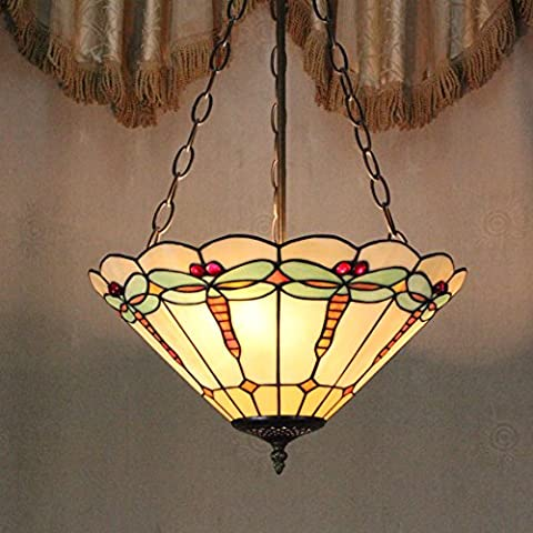 Style Pastoral Vintage Européenne Tiffany 16-Inch Dragonfly Main Stained Glass Pendant Lamp Salle Lumineuse