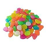 200 piezas coloridas piedras Glow Guijarros, bricolaje piedras de grava decorativas brillan en el oscuro jardín guijarros piedra luminosa para la calzada, patio, pecera, parque, maceta