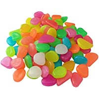 200 piezas coloridas piedras Glow Guijarros, bricolaje piedras de grava decorativas brillan en el oscuro