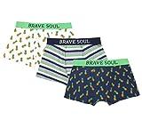 Brave Soul Herren Boxer-Shorts 3-er Pack Aufdruck cool lustige Motive gestreift Navy Blau Weiß Grün Gelb Tropic (S)