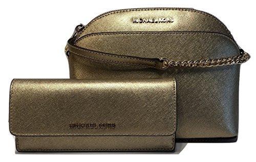 MICHAEL Michael Kors Emmy MD Crossbody bundle with Michael Kors Jet Set Travel Flat Wallet (Pale Gold)