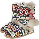 Womens Annabelle Gretel Farrah Fairisle DUNLOP Fluffy Warm Knitted Slipper Boots