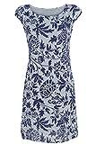 GS-Fashion Leinenkleid Damen Sommer mit Blumen Kleid ärmellos Knielang Grau 36 (Herstellergröße M)