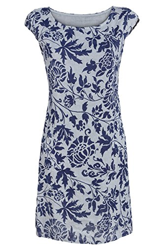 160ca19aa2b039 GS-Fashion Leinenkleid Damen Sommer mit Blumen Kleid ärmellos Knielang Grau  36 (Herstellergröße M)