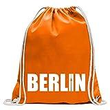 Kiwistar Berlin Schriftzug Turnbeutel Fun Rucksack Sport Beutel Gymsack Baumwolle mit Ziehgurt