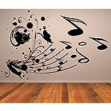 Floral Note de musique Partition Wall Sticker Sticker Art Musique Disponible en 5 tailles et 25 couleurs