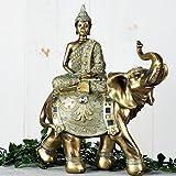 Juliana Finition Bronze Vert-de-Gris Bouddha sur Figurine éléphant 33cm orné Statue