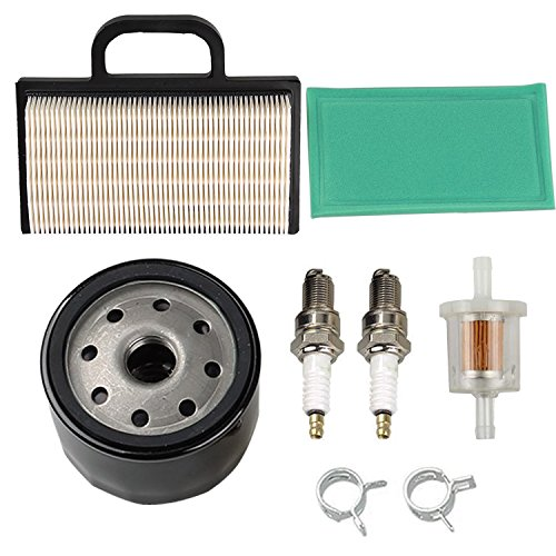 OxoxO 698754 273638 Air Filter 691035 Fuel Filter 696854 Oil Filter Spark Plug for Briggs & Stratton Intek Extended Life Series V-Twin 18-26 HP Lawn Mower