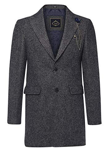 House Of Cavani Herrenjacke 3/4 Mantel Grau Tweed Fischgräte Design Peaky Blinders