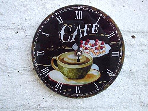 Wanduhr, Küchenuhr, Cafe, Cappuccino, Kaffee-Motiv, Creme, 17 cm - Cappuccino Küchenuhr