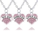 3Silber Pink Crystal Big Mitte Little Sister Love Herz Anhänger Halskette Familie Schmuck Frauen Geschenk
