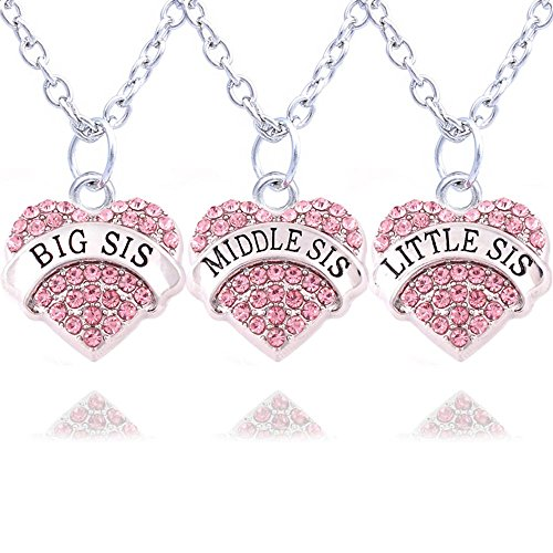 Silver and pink heart necklace amazon 3pcs silver pink crystal big middle little sister love heart pendant necklace family jewellery women gift aloadofball Image collections