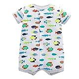 Tyoby Baby Baby-Säuglingsmädchen-Jungen-Einteiler-Karikatur-gestreifte Druckspielanzug-Bodysuit-Kleidung Freizeitheim Babykleidung(Grau,24M)