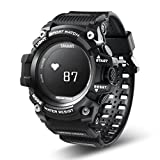 samLIKE 丨 T1 Smart Watch 丨 Herzfrequenz Rekord 丨 Fitness-Aktivitäts-Tracker 丨 IP68 Wasserdicht 丨 Anrufe Erinnerung 丨 255 mm Max. Länge (⭐️ Schwarz)