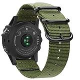 Fintie Armband für Garmin Fenix 3 / Fenix 3 HR/Fenix 5X / Fenix 5X Plus Smart Watch - Nylon atmungsaktive Sport Uhrenarmband verstellbares Ersatzband mit Edelstahlschnallen, Olive