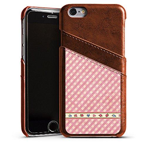Apple iPhone 5s Housse Étui Protection Coque Carreau Fille Fête de la bière Étui en cuir marron