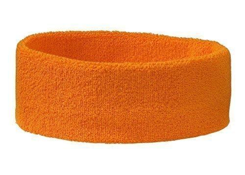 Stirnband Headband Kopfband Knitband Schweißband schwarz navy rot weiß Stirnbänder Tennis Squash Badminton Fitness (Preis pro Stück) (Orange)