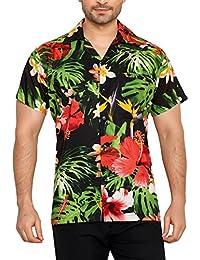 CLUB CUBANA Camisa Hawaiana Florar Casual Manga Corta Ajuste Regular para  Hombre 618cac811df58