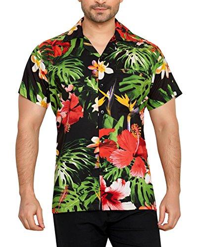 CLUB CUBANA Camisa Hawaiana Florar Casual Manga Corta