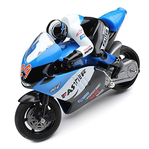 New Blue 1/10 RC Motorcycle Radio Control Fast Speed Kid Race Racing Bike Toy USB Charge