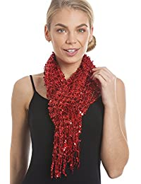 Red Sequin Net Look Tassel Scarf