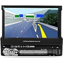 """Reproductor MP5 para coche, LESHP 7"""" Pantalla Táctil HD Bluetooth Navegador GPS Radio 1 din para coche FM / AM Vídeo Estéreo USB AUX Control de Volante + Cámara trasera 170°visión nocturna + Tarjeta d"""