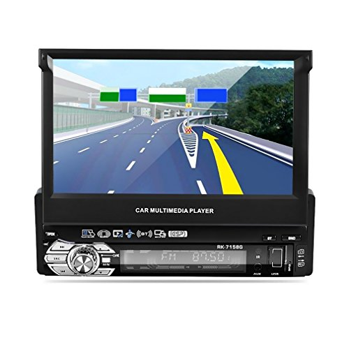 Reproductor MP5 para coche, LESHP 7' Pantalla Táctil HD Bluetooth Navegador GPS Radio 1 din para coche FM / AM Vídeo Estéreo USB AUX Control de Volante +visión nocturna + Tarjeta d