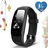 JoyGeek - Smart watch, fitness tracker, cardiofrequenzimetro, Bluetooth 4.0,impermeabile, pedometro, contacalorie, monitoraggio del sonno, respirazione guidata, previsioni meteo, controllo musicale, GPS per attività sportiva, promemoria chiamate/SMS, per iPhone 6/6Plus/7/7Plus e smartphone Android Samsung S7/Note 7/S8, Huawei Mate 9/P9/P10(nero)