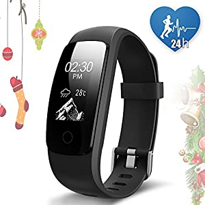 JoyGeek Fitness Tracker, Heart Rate Monitor Smart Bracelet Bluetooth 4.0 Waterproof Smart Watch with Pedometer Calorie Counter Sleep Monitor Guided Breathing Weather Report Music Control GPS Sports and Call/SMS Reminder for iPhone 6/6 plus/7/7 plus And Android Samsung S7/note 7/S8 Huawei Mate 9/P9/P10 Smartphones(Black)