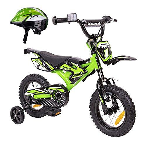 Kawasaki Kinderfahrrad 12 Zoll Kasaii Cross BMX Moto grün mit Rücktrittbremse und Fahrradhelm Shikuro grün Gr. 48-50