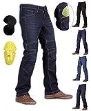Dunkelblau Herren Motorrad Denim Skinny Jeans Hose mit Futter