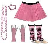 A-Express Frauen kostüm 80er Jahre Neon Tutu Streifen Beinstulpen Fischnetz Handschuhe Tüllrock Karneval Tüll Damen Fluo Ballett Verkleidung Party Tutu Rock Kostüm Set (46-54, Hellrosa)