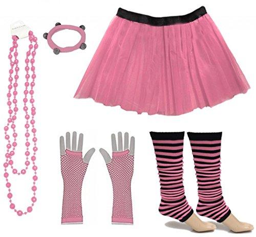 tüm 80er Jahre Neon Tutu Streifen Beinstulpen Fischnetz Handschuhe Tüllrock Karneval Tüll Damen Fluo Ballett Verkleidung Party Tutu Rock Kostüm Set (46-54, Hellrosa) ()