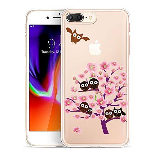 Coque iPhone 8, TrendyBox Transparent Flexible TPU Gel IMD Case Cover pour iPhone 7 et iPhone 8 avec verre trempe film de protection (Fleur de Cerisier et Lapins) Chouette et Rose Arbre