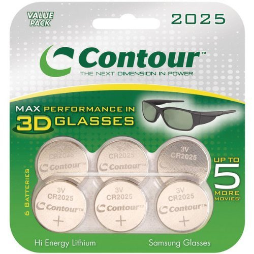 Contour CR2025 3-Volt Hi Energy Coin Cell Lithium Batteries for 3D Glasses - 6 Pack
