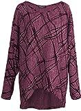 Emma & Giovanni - Langarmshirt Mit Druck- Pullover- Asymmetrisch Top - Damen ,L,Bordeaux